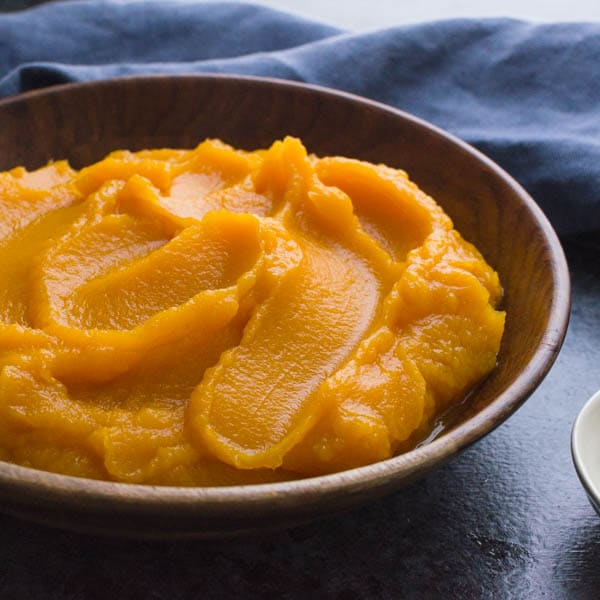 Maple Butternut Puree in a bowl.