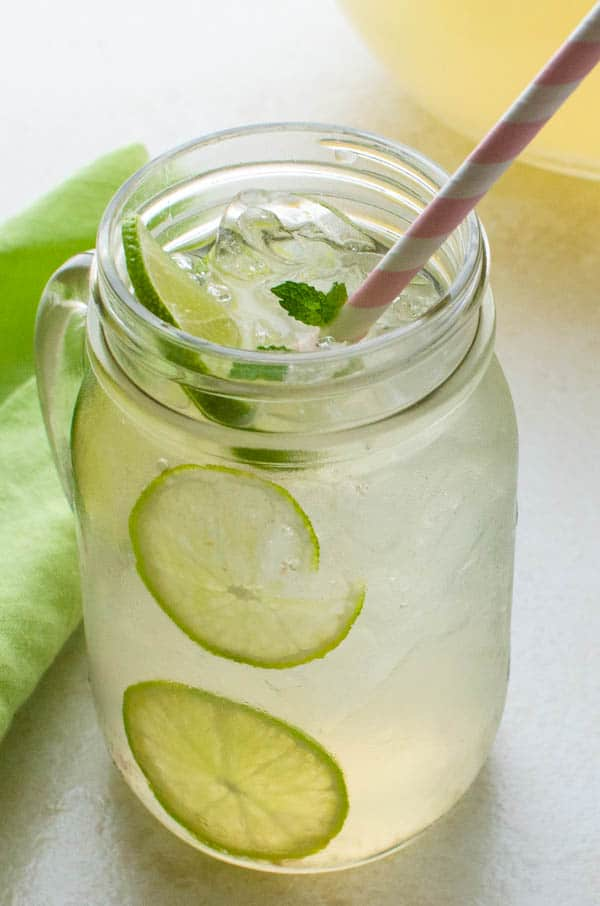 Guava Limeade Summer Mocktail in a mason jar.