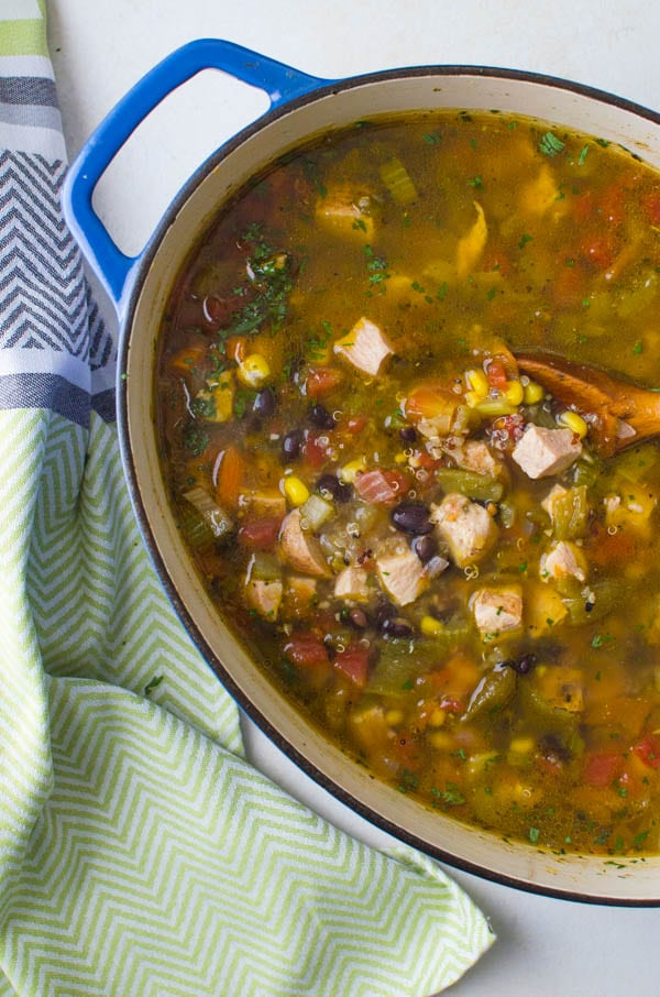 simmered Southwestern Chicken Quinoa Soup.