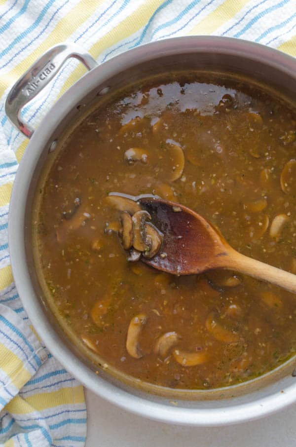 stirring together the easy mushroom gravy.