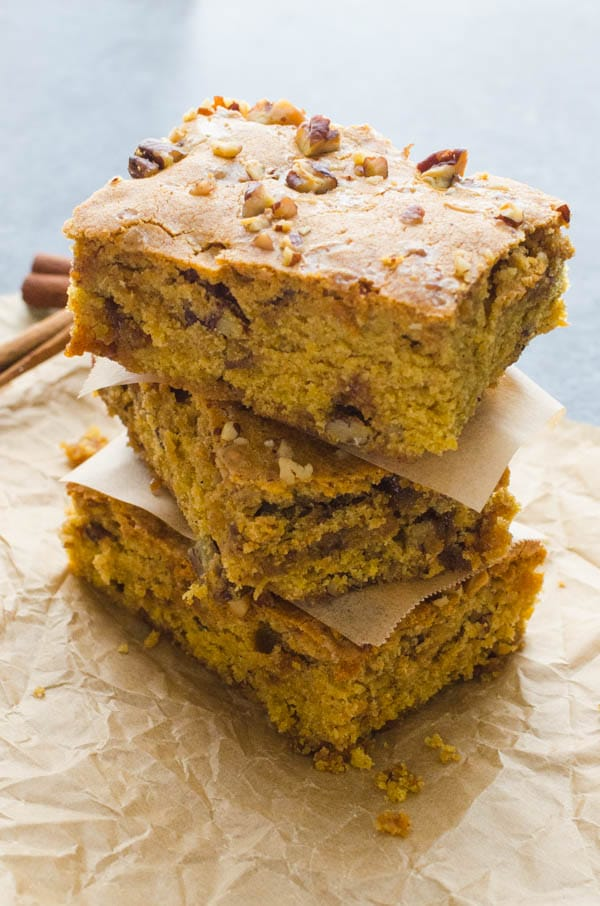 a stack of pumpkin blondies.