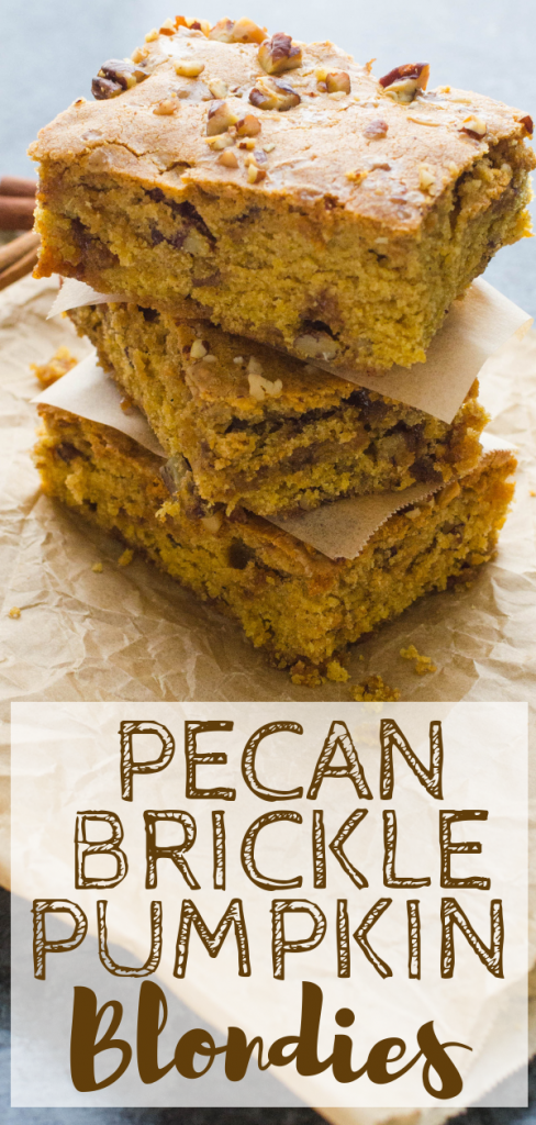 Pumpkin Blondies are a fall favorite especially with homemade pumpkin pie spice in the mix. These pumpkin spice bars have the flavor and aroma of autumn. #blondies #pumpkinblondies #pumpkinspicebars #homemadepumpkinpiespice #sheetpandesserts #sheetpanbars #pumpkinpecanbars #pumpkinspicedesserts #brickle #pecans #pumpkinbricklebars #falldesserts #autumndesserts #halloweendesserts #thanksgivingdesserts #pumpkinpuree