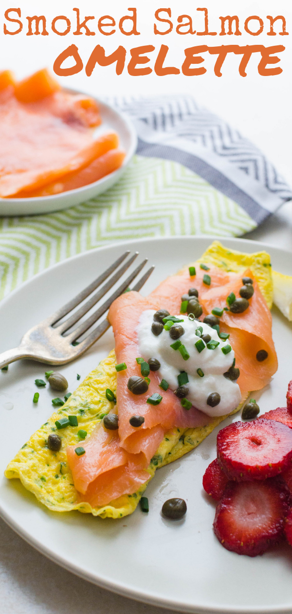 Quick, healthy & delish, this smoked salmon omelette is a great start to the day. An herb omelette embellished with buttery salmon, capers, chives & lemon. #omelette #eggs #breakfast #healthybreakfast #fastbreakfast #lowcarbbreakfast #smoked salmon #tarragon #chives #parsley #herbs #herbomelette #2eggomelette #smokedsalmonomelette #howtomakeanomelette #salmon #lox #nova #