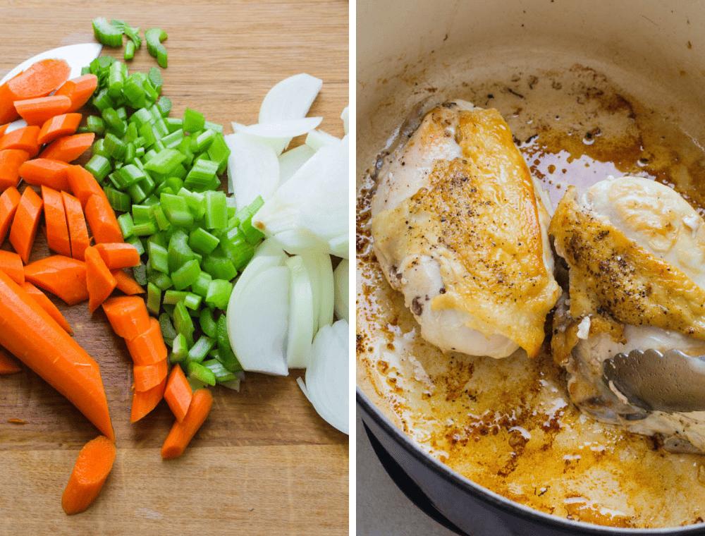 prepping ingredients for the best chicken stew.