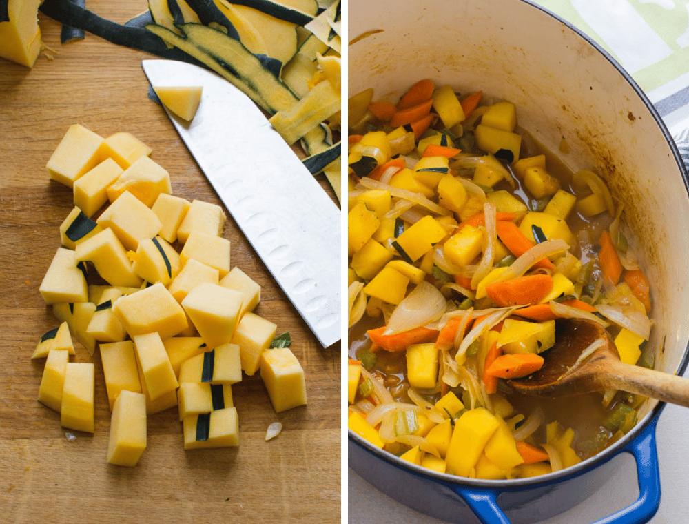 cutting squash for healthy chicken stew.