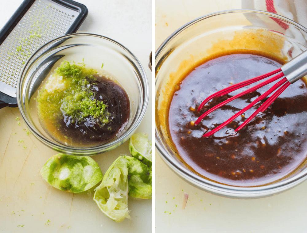 making the hoisin-maple Asian glaze.