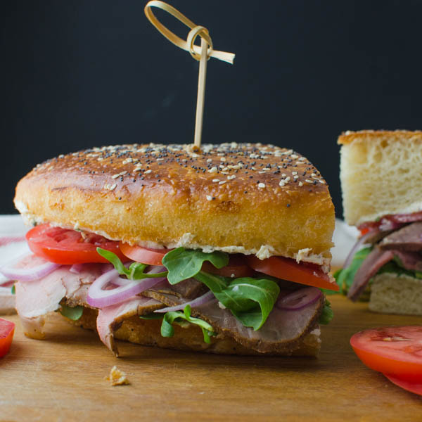 Cold Roast Beef Sandwich with Horseradish Cheese