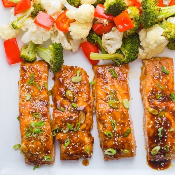 Hoisin-Maple Asian Glazed Salmon on a platter.