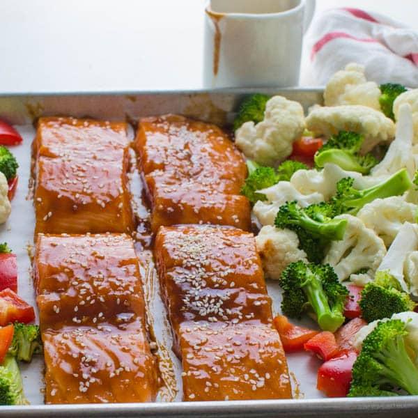 Hoisin-Maple Asian Glazed Salmon ready for the oven.