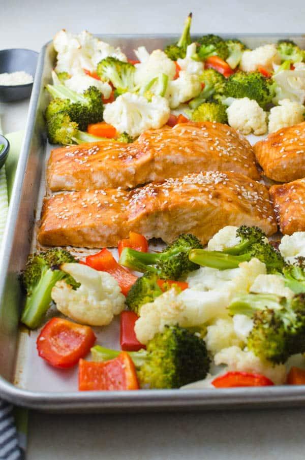 closeup of Hoisin-Maple Asian Glazed Salmon.