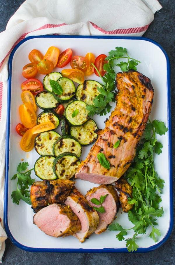 Tandoori Marinated Grilled Pork on a platter.