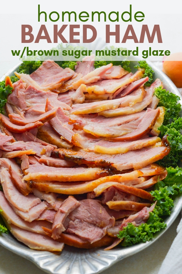 Love oven roasted ham? This homemade ham with brown sugar mustard glaze is super easy to make. Perfect for holidays, brown sugar glazed ham feeds a crowd. #hamrecipes #easterdinner #glazedham