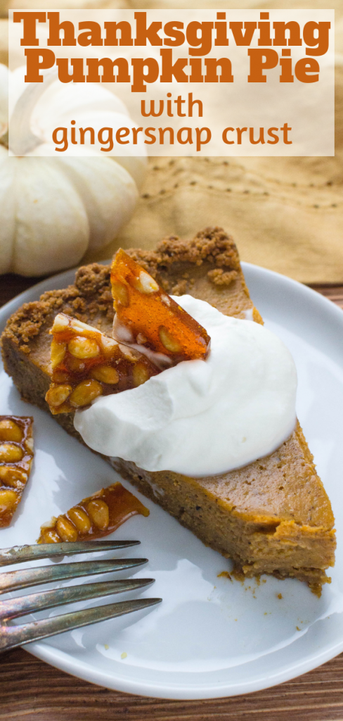 Thanksgiving pumpkin pie with gingersnap crust is topped with maple bourbon whipped cream and pine nut brittle for a holiday pie everyone loves. #thanksgivingpumpkinpie #pumpkinpie #nutbrittle #bourbonmaple #whippedcream #homemadewhippedcream #gingersnapcrust #thanksgivingdessert #pumpkindessert #pumpkintart #flavoredwhippedcream #pinenuts #pinenutbrittle #traditionalpumpkinpie #bestpumpkinpie #easypumpkinpie #holidaypie