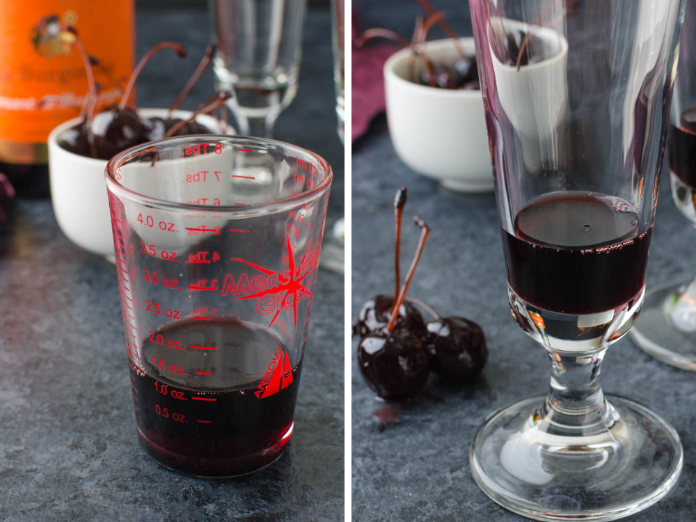 measuring Amarena cherry syrup for blood red cocktails.