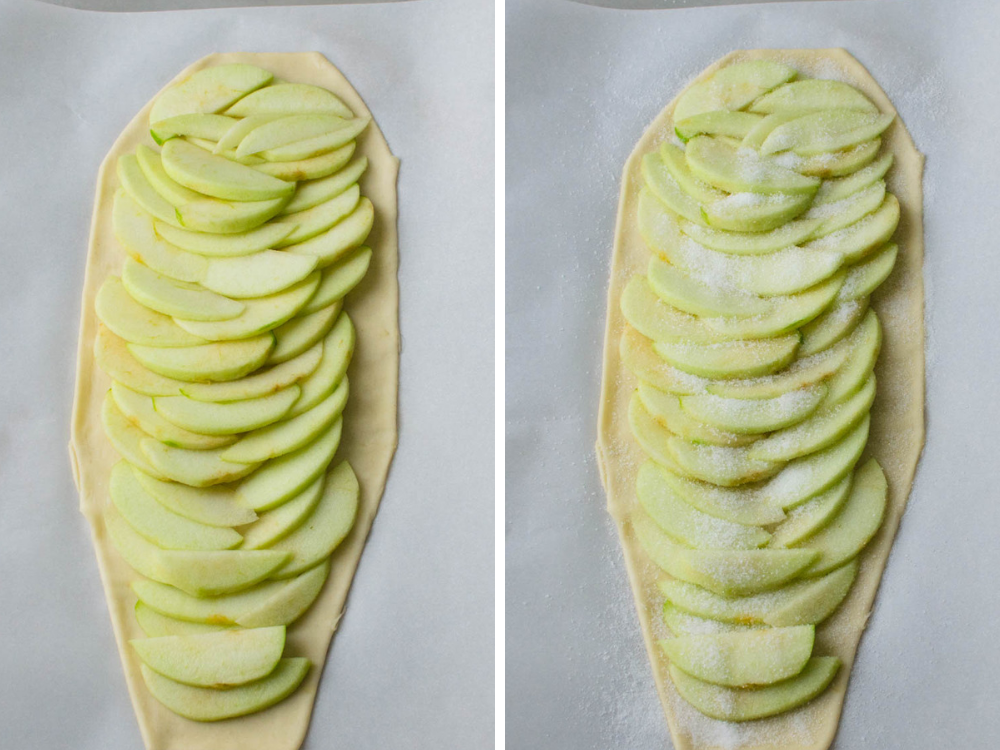 arranging apples and sugar over puff pastry for this halloween dessert recipe.