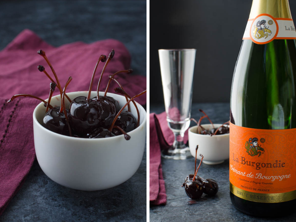 Amarena cherries and Crémant de Bourgogne for easy holiday cocktails.