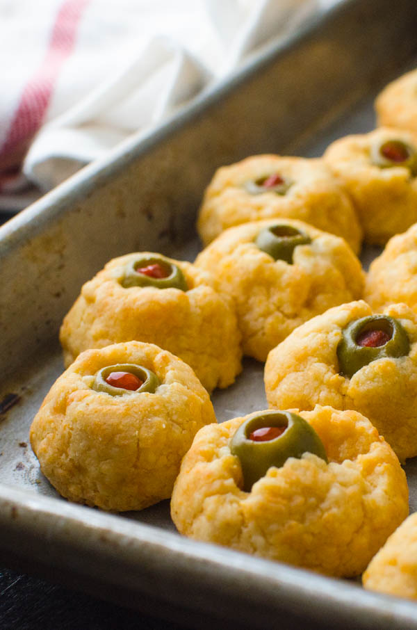 Baked Savory Halloween Appetizers on a baking sheet.