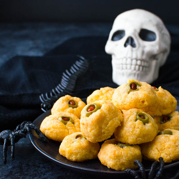 serving savory Halloween Appetizer Cheese Olive Balls