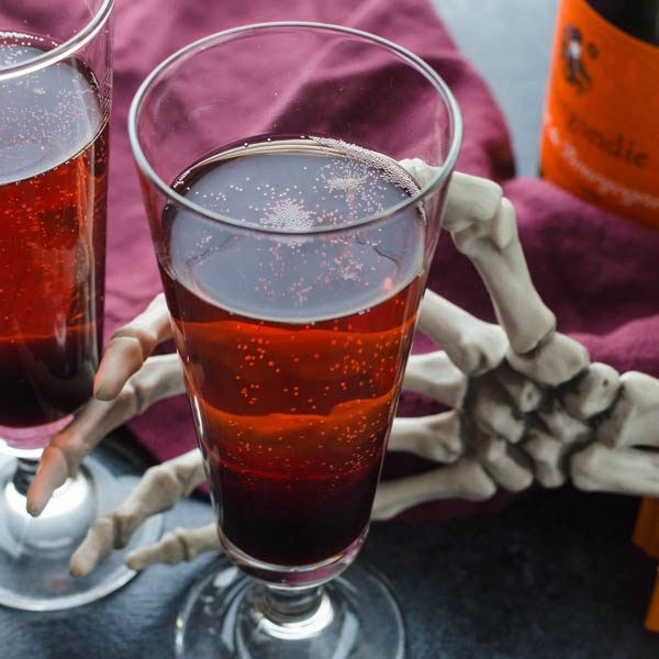 Bloody Champagne Bellini - an easy holiday cocktail or sparkling drink.