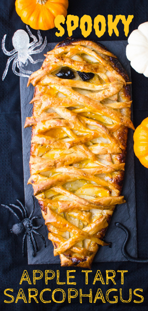 Need Halloween Dessert Recipes? This easy apple tart is one that everyone loves. It's a quick apple pie made with puff pastry, all dressed up for Halloween! #easyappletart #easyappletartrecipe #halloweenrecipe #halloweendessertrecipe #quickapplepie #halloween #appletart #apples #puffpastry #apricotjam #thanksgiving #christmas #fastdessert #puffpastryrecipe #puffpastrydessert #vegetariandessert #spookydessert