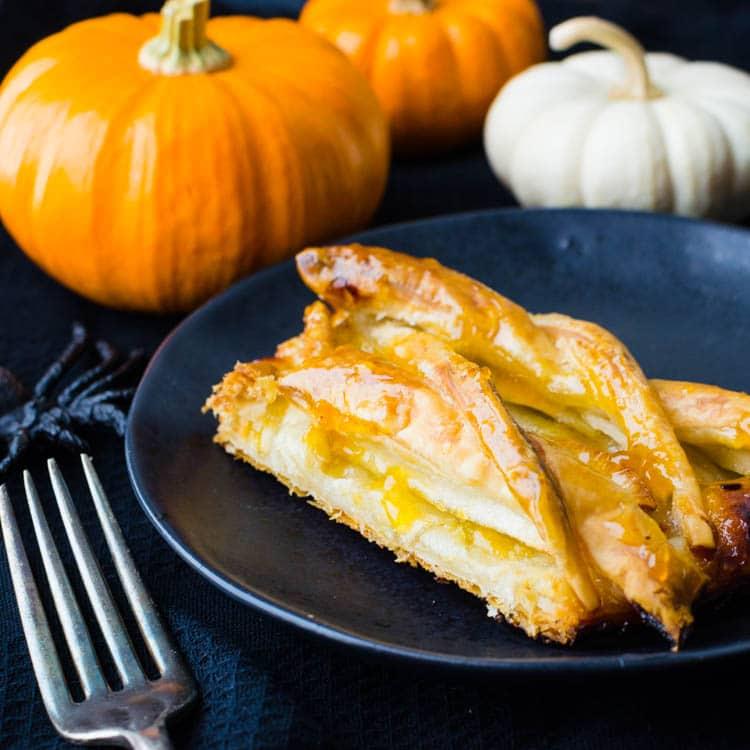 a slice of the easy apple tart recipe.