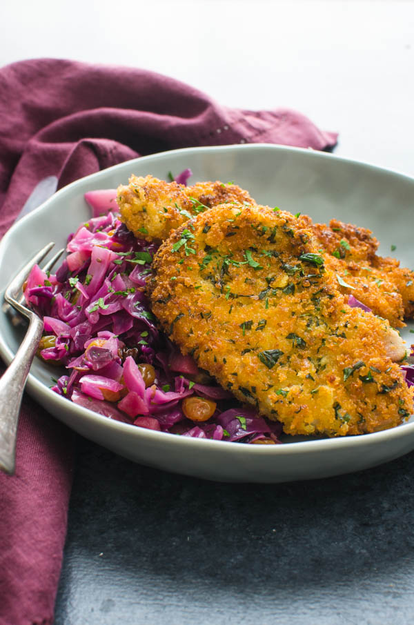 Best pork recipes? Crunchy Breaded Pork Cutlets. And what to serve with pork schnitzel? Braised red cabbage.