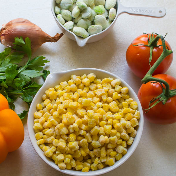 frozen corn and lima beans for traditional succotash recipe.