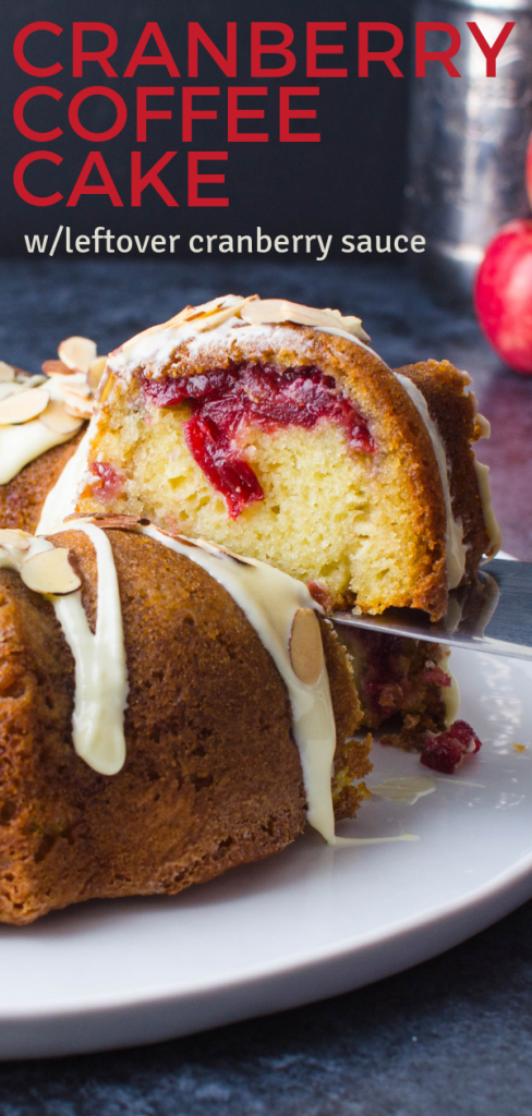 Looking for a moist coffee cake? This Cranberry coffee cake uses leftover cranberry sauce for a sweet-tart finish to a holiday brunch. #cranberrycoffeecake #leftovercranberrysauce #moistcoffeecake #leftovercranberrysaucerecipes #cranberries #thanksgivingleftovers #holidaycoffeecake #bundtcake #brunchdessert #holidaydesserts #holidaybreakfasts #holidayentertaining #baking #coffeecakerecipes #fruitcoffeecakes