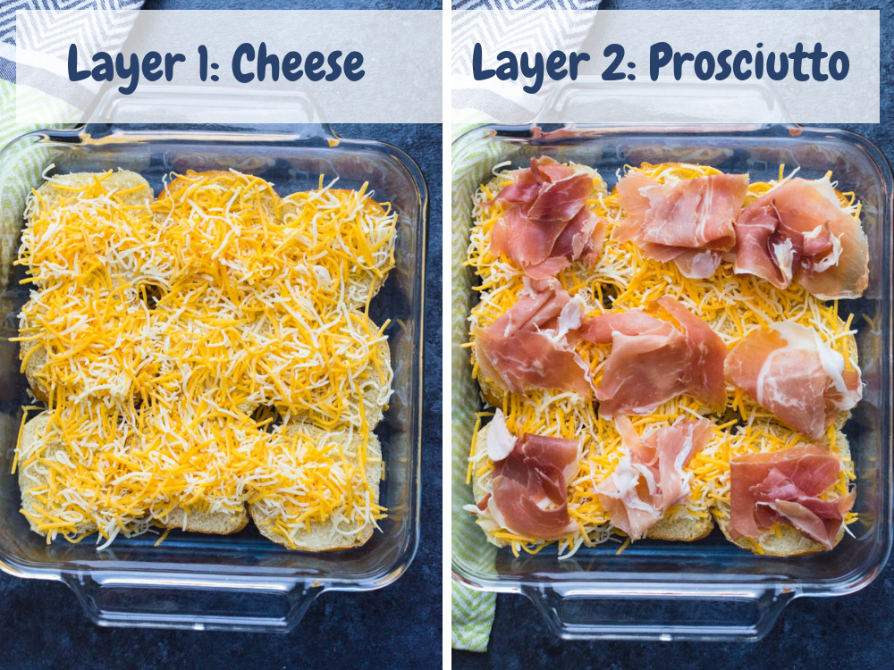 Layering oven sliders with cheese and prosciutto