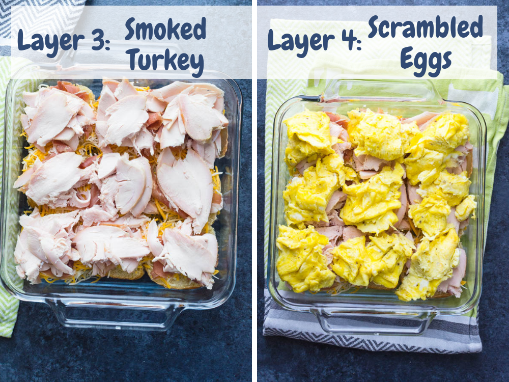 Topping easy sliders recipe with turkey and eggs. A great breakfast for a group.