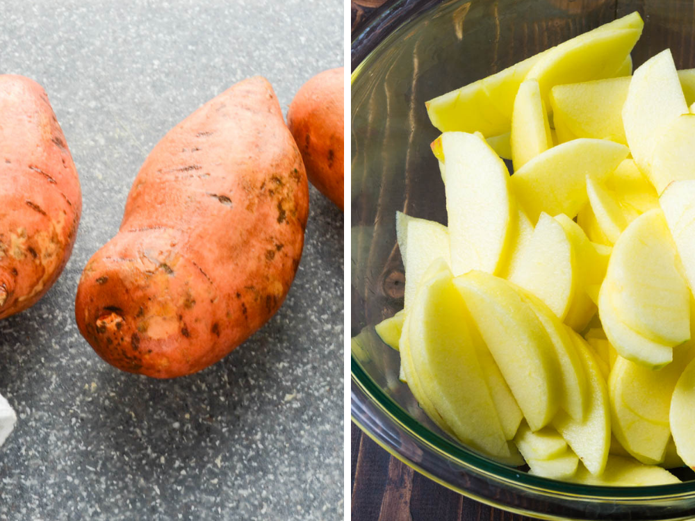 sweet potatoes and sliced apples for easy make ahead breakfast casserole.