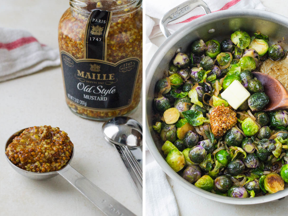 glazing stovetop brussels sprouts with dijon mustard, butter and maple syrup.