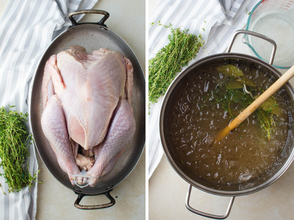 Why Brine A Turkey? To make it tender and flavorful. Photo of brining solution in a pot.