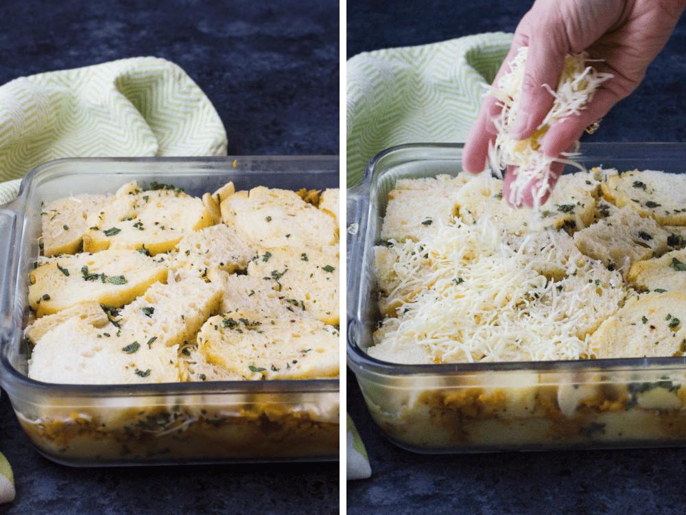 Adding cheese before baking breakfast strata recipe.