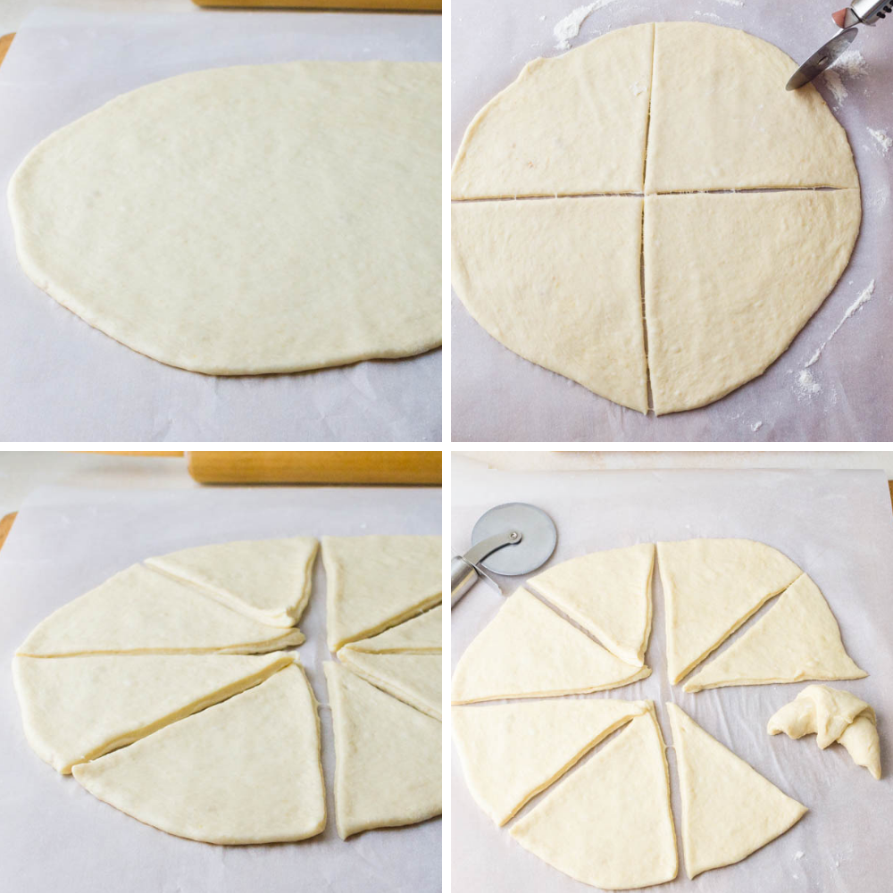 rolling out and cutting crescent rolls recipe on a work surface.
