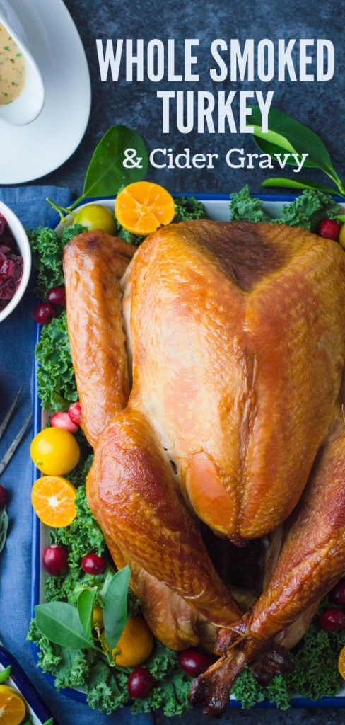From turkey brines to the best instant read thermometers, this Whole Smoked Turkey with Cider Gravy recipe will answer all your Tom Turkey questions. #whybrineaturkey #wholesmokedturkey #bestinstantreadthermometers #turkeybrines #howtobrineaturkeyforsmoking #smokedturkey #brinedturkey #briningliquid #applecider #applejuice #bourbon #maple #tomturkey #thanksgivingdinner #thanksgivingturkey #christmasturkey