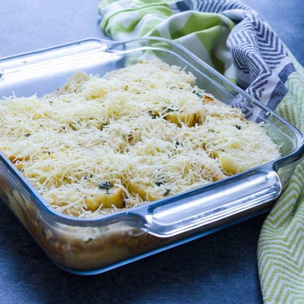 Sweet Potato and Apple Breakfast Strata recipe in a casserole dish.