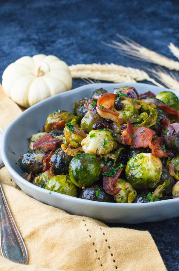 Serving Christmas brussels sprouts.