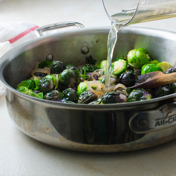 Adding broth to Christmas brussels sprouts