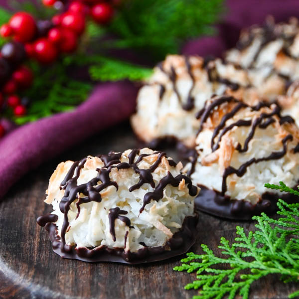 chewy coconut cookies with festive greenery and holiday fare.