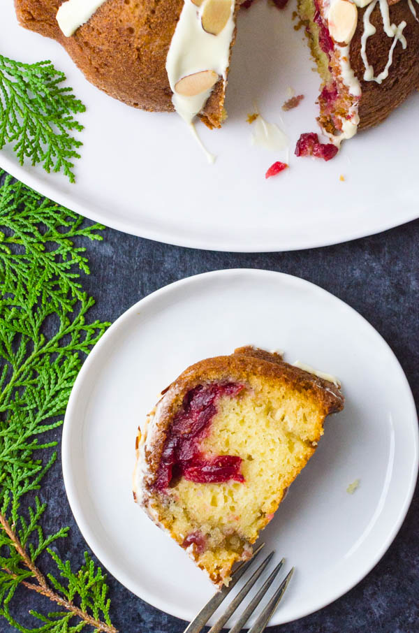 a slice of cranberry coffee cake with leftover cranberry sauce.