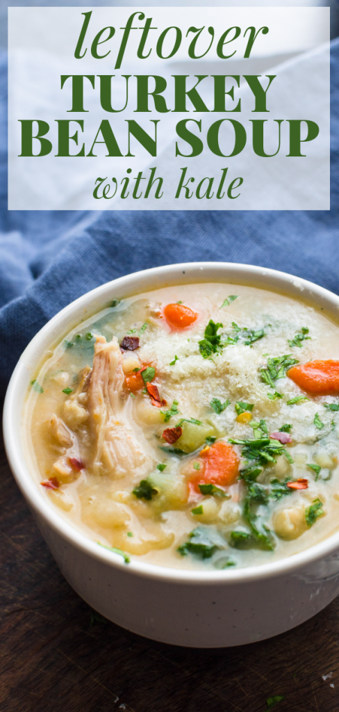 Need a leftover turkey soup recipe? Here's a hearty leftover Turkey Bean Soup with Kale that's delicious & good for you too! Make an easy turkey soup today. #beansoup #driedbeans #leftoverturkeysoup #thanksgivingleftovers #leftoverturkeysouprecipe #smokedturkeysoup #greatnorthernbeansoup #smokedturkey #turkeyleftovers #kale #kalebeansoup #beankalesoup #healthysoup #heartysoup #easythanksgivingleftoverrecipes