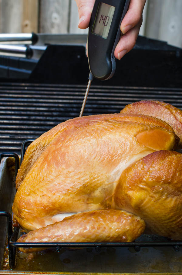 Using the best instant read thermometer - the Thermapen to check turkey temperature.