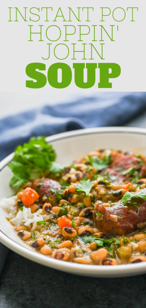 Looking for New Year's Instant Pot bean recipes? This Hoppin John soup is the quintessential new years recipe for dinner. With tender beans & meaty sausage. #blackeyedpeas #blackeyedpeasrecipe #hoppinjohn #smokedsausage #newyearsday #newyearsrecipe #luckynewyearsrecipe #traditionalnewyearsfood #instantpothoppinjohn #instantpotrecipes #instantpotbeanrecipes