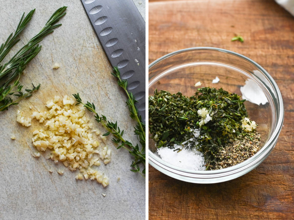 chopping garlic, rosemary and thyme for flageolets.