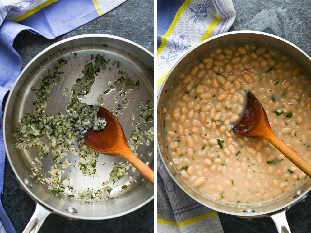 garlic herbs and white beans for boneless lamb roast recipe.