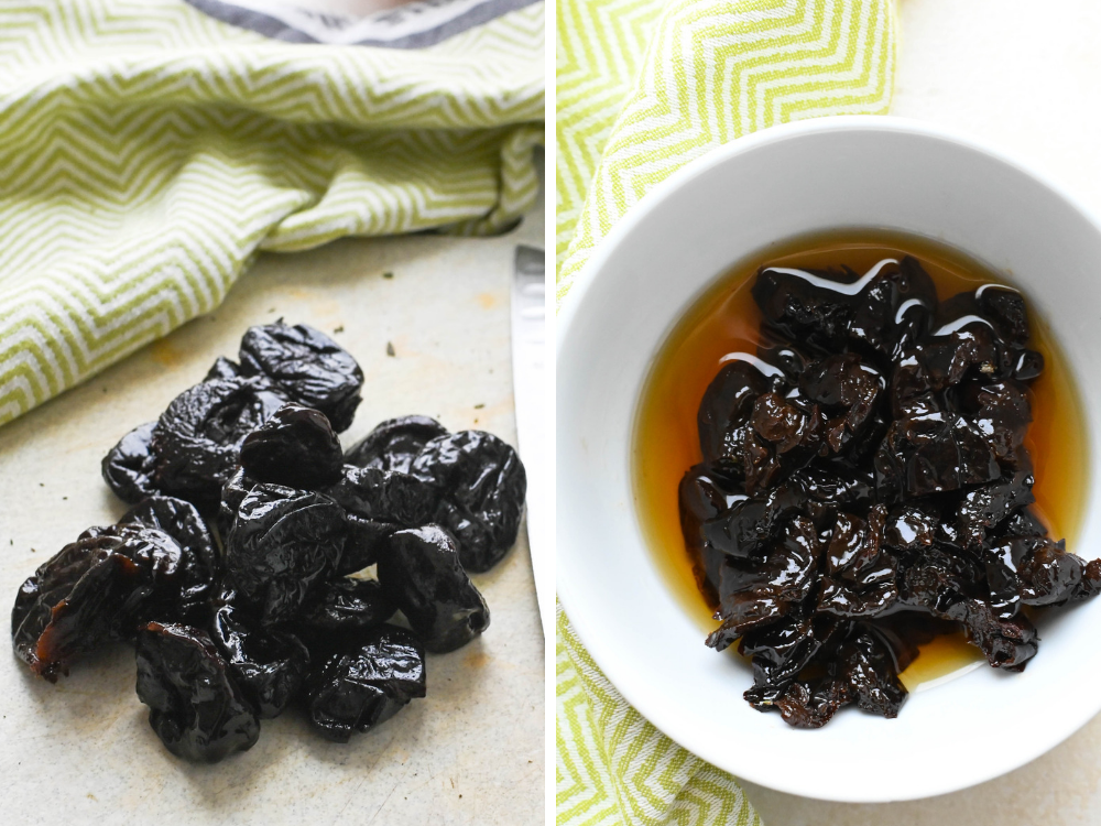 soaking prunes in cognac for Veal and Pork Country Pâté.