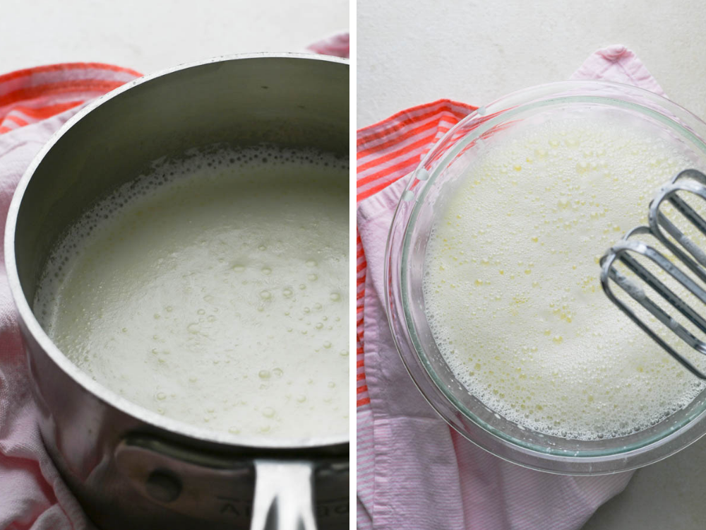scalding cream and blending with egg mixture for Christmas ice cream.