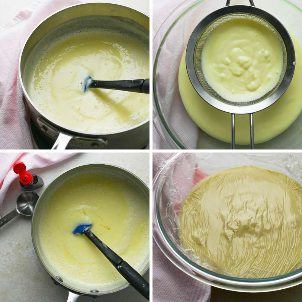 Making custard, straining it, adding peppermint and covering with plastic wrap.