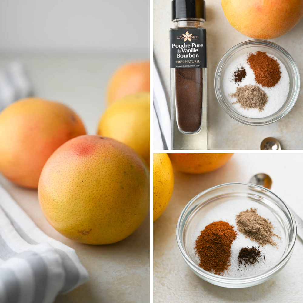 a collage of pink grapefruit with sugar, spices and powdered vanilla.